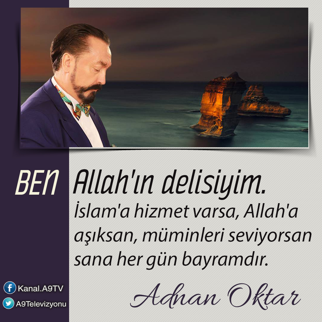 """<table style=""""width: 100%;""""><tr><td style=""""vertical-align: middle;"""">Ben Allah""""ın delisiyim. İslam""""a hizmet varsa, Allah""""a aşıksan, müminleri seviyorsan sana her gün bayramdır.</td><td style=""""max-width: 70px;vertical-align: middle;""""> <a href=""""/downloadquote.php?filename=1500740016621.jpg""""><img class=""""hoversaturate"""" height=""""20px"""" src=""""/assets/images/download-iconu.png"""" style=""""width: 48px; height: 48px;"""" title=""""Resmi İndir""""/></a></td></tr></table>"""