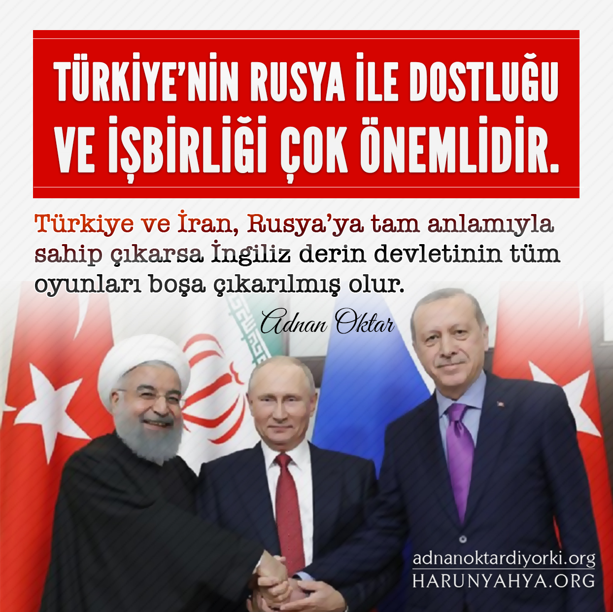 """<table style=""""width: 100%;""""><tr><td style=""""vertical-align: middle;"""">Türkiye'nin Rusya ile dostluğu ve işbirliği çok önemlidir. Türkiye ve İran, Rusya'ya tam anlamıyla sahip çıkarsa İngiliz derin devletinin tüm oyunları boşa çıkarılmış olur.</td><td style=""""max-width: 70px;vertical-align: middle;""""> <a href=""""/downloadquote.php?filename=1523771630404.jpg""""><img class=""""hoversaturate"""" height=""""20px"""" src=""""/assets/images/download-iconu.png"""" style=""""width: 48px; height: 48px;"""" title=""""Resmi İndir""""/></a></td></tr></table>"""