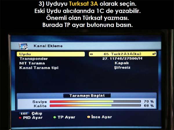 A9 uydu kanal ayarlama